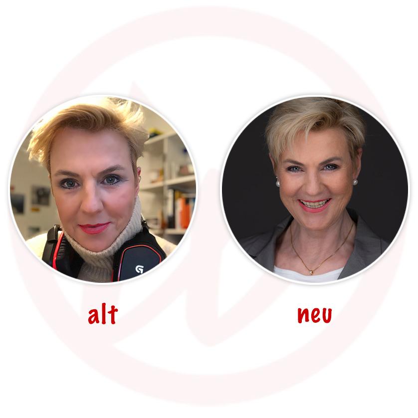 Vergleich altes vs. neues Profilbild Karin